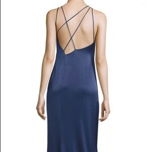 Halston Heritage Satin Gown with Strappy Back